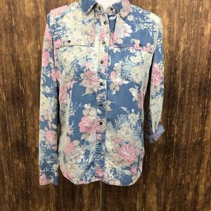Guess Jeans Long Sleeve Button Down Floral Sz S